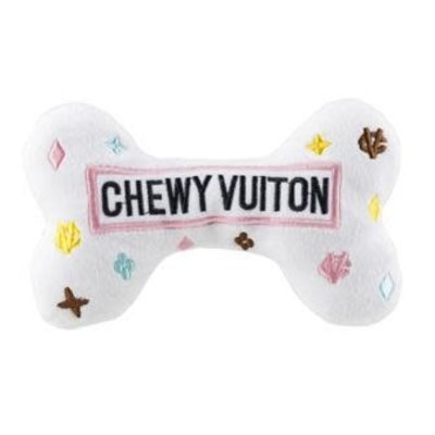 WHITE CHEWY VUITTON Dog Toy