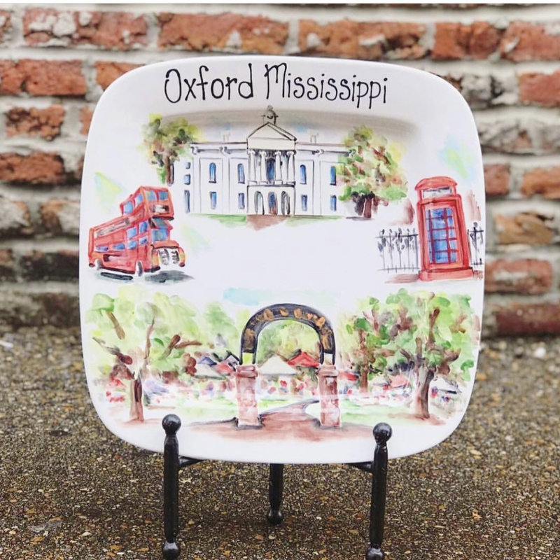 Hand Painted- Oxford Mississippi Platter