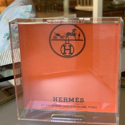 "Hermes Orange (12""x12) Lucite Tray-"