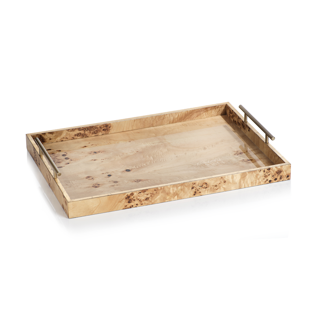 VT-1284 Leiden Burl Wood Design Rectangular Tray w Gold Handles