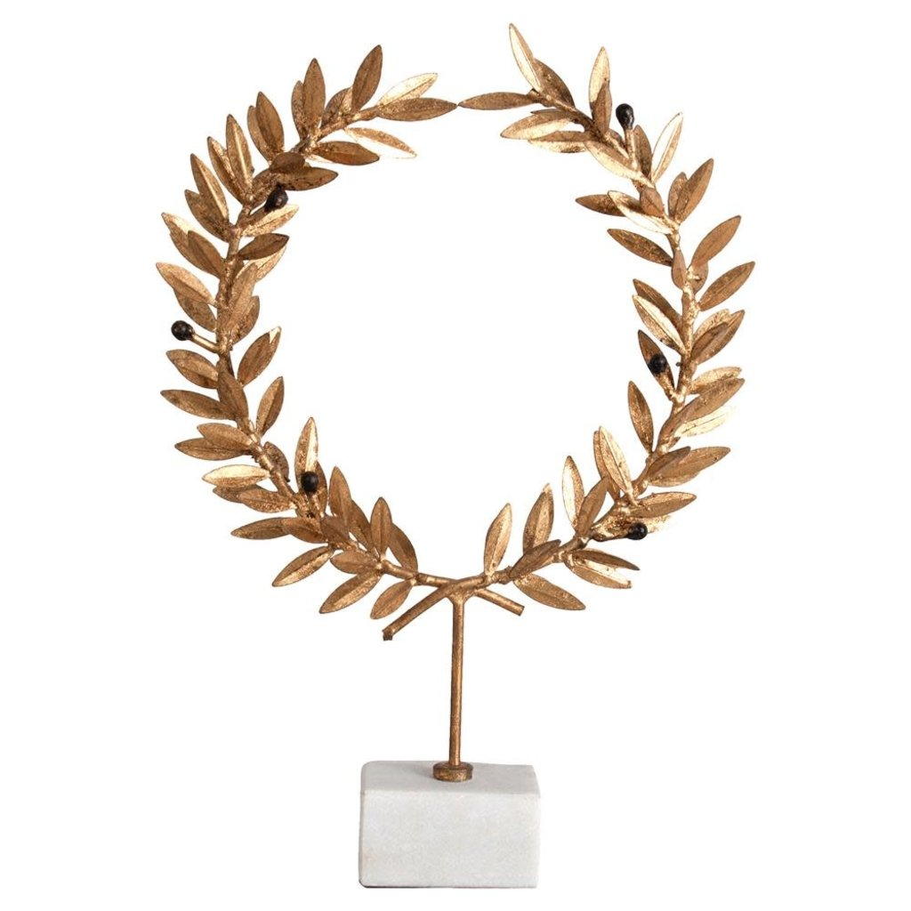 ML-4185-B - Kotinos Wreath on Stand on white marble base Height: 14''  Depth: 2'' Width 9.5''