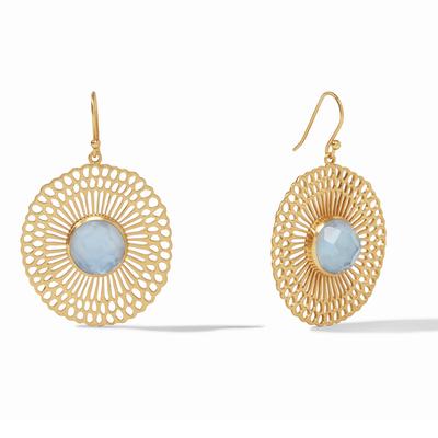 Soleil Earring Gold Iridescent Chalcedony Blue