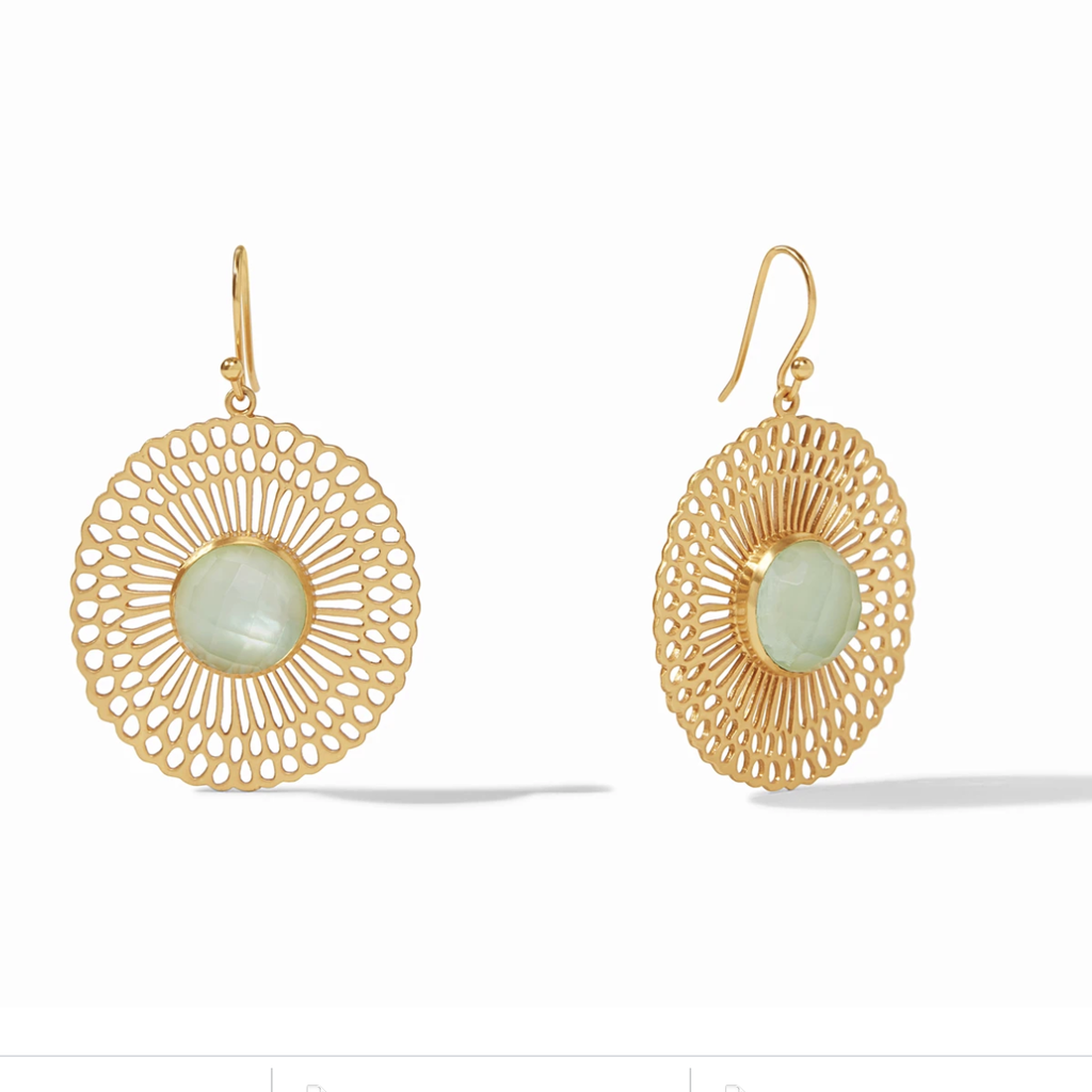 Soleil Earring Gold Iridescent Seaglass Green