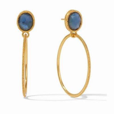 Verona Statement Earring Gold Iridescent Azure Blue