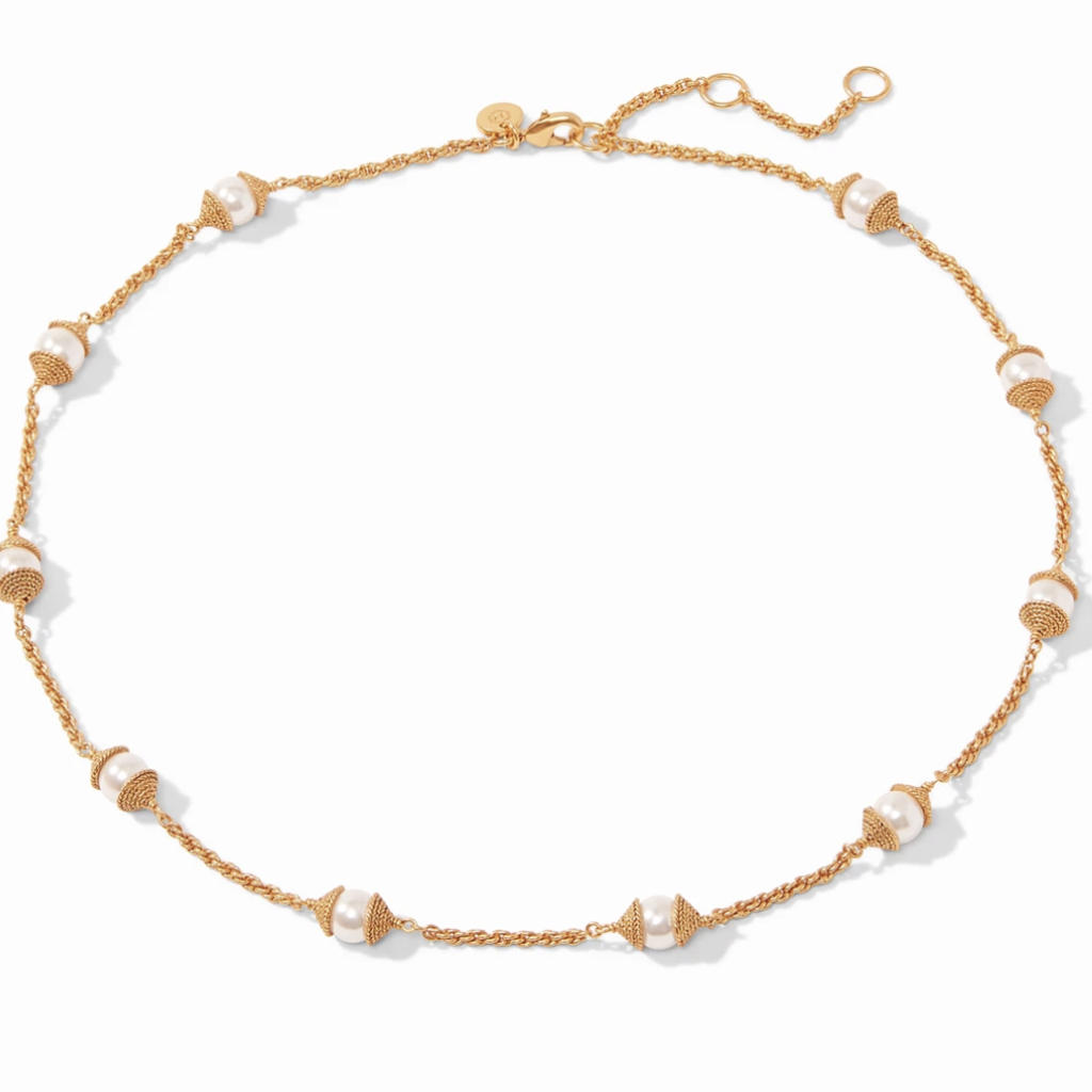 Calypso Pearl Delicate Station Necklace Pearl
