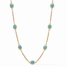 Calypso Demi Delicate Station Necklace Gold Pacific Blue