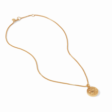 Coin Charm Necklace Gold Cz