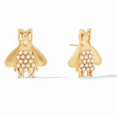 Bee Luxe Earrings Gold Pearl