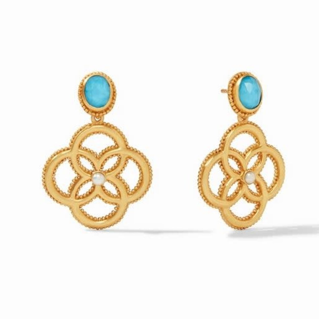 Chloe Demi Earring Gold Iridescent Pacific Blue