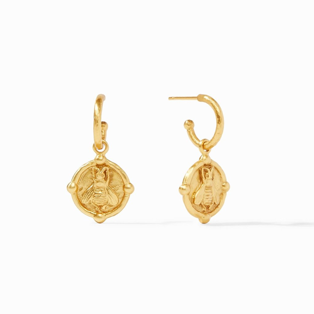 Bee Hoop & Charm Earring Gold