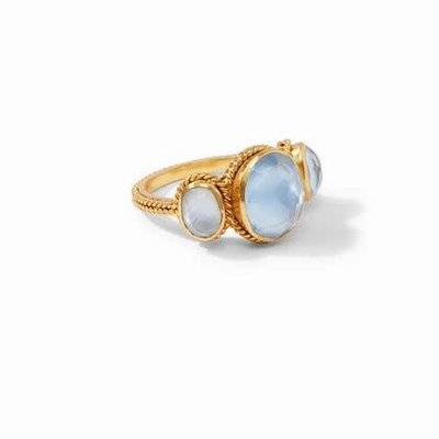 Calypso Ring Gold Iridescent Chalcedony Blue Size 7