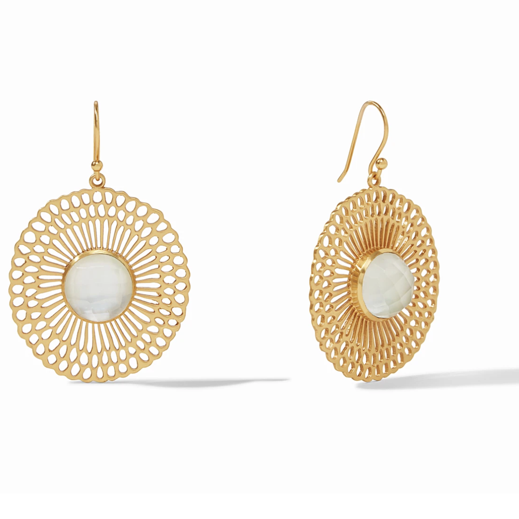 Soleil Earring Gold Iridescent Clear Crystal