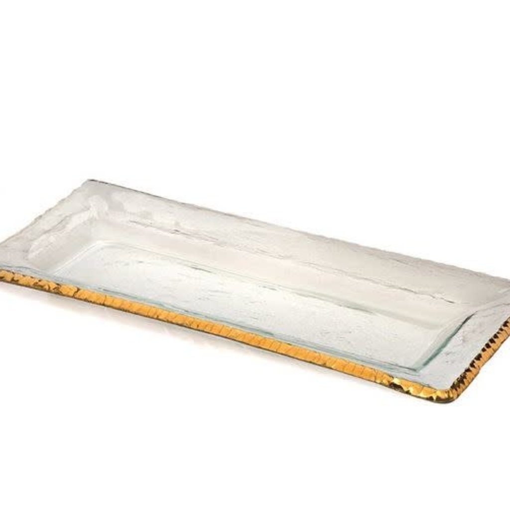 E118G - Edgy 17 1/2 x 8'' rectangulat tray gold