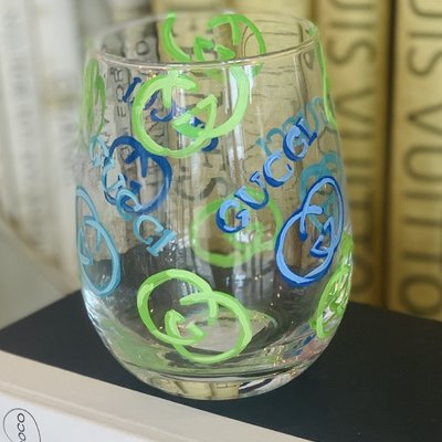 Gucci (Green & Blue) Hand Painted Wine Glass