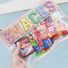 """Snacks"" Sand Clear Flat Pouch"