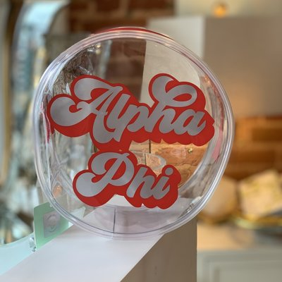 A PHI Round Vinyl Clear Cosmetic Bag