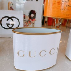 Gucci (WHITE/GOLD) SMALL (5.5'' tall) Makeup Brush Holder-