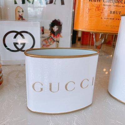 Gucci (WHITE/GOLD) PETITE (4.5'' tall)  Makeup Brush Holder-