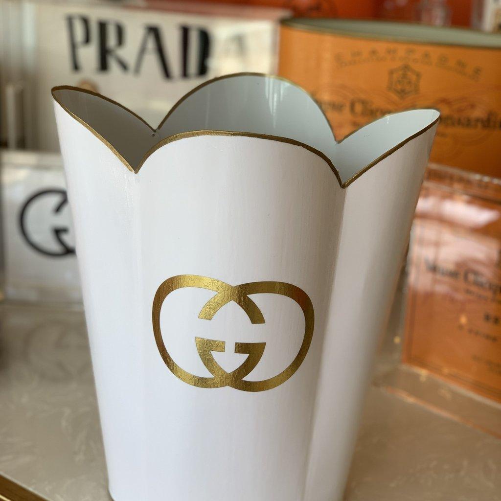 Gucci Wastepaper Basket (White & Gold Scallop)