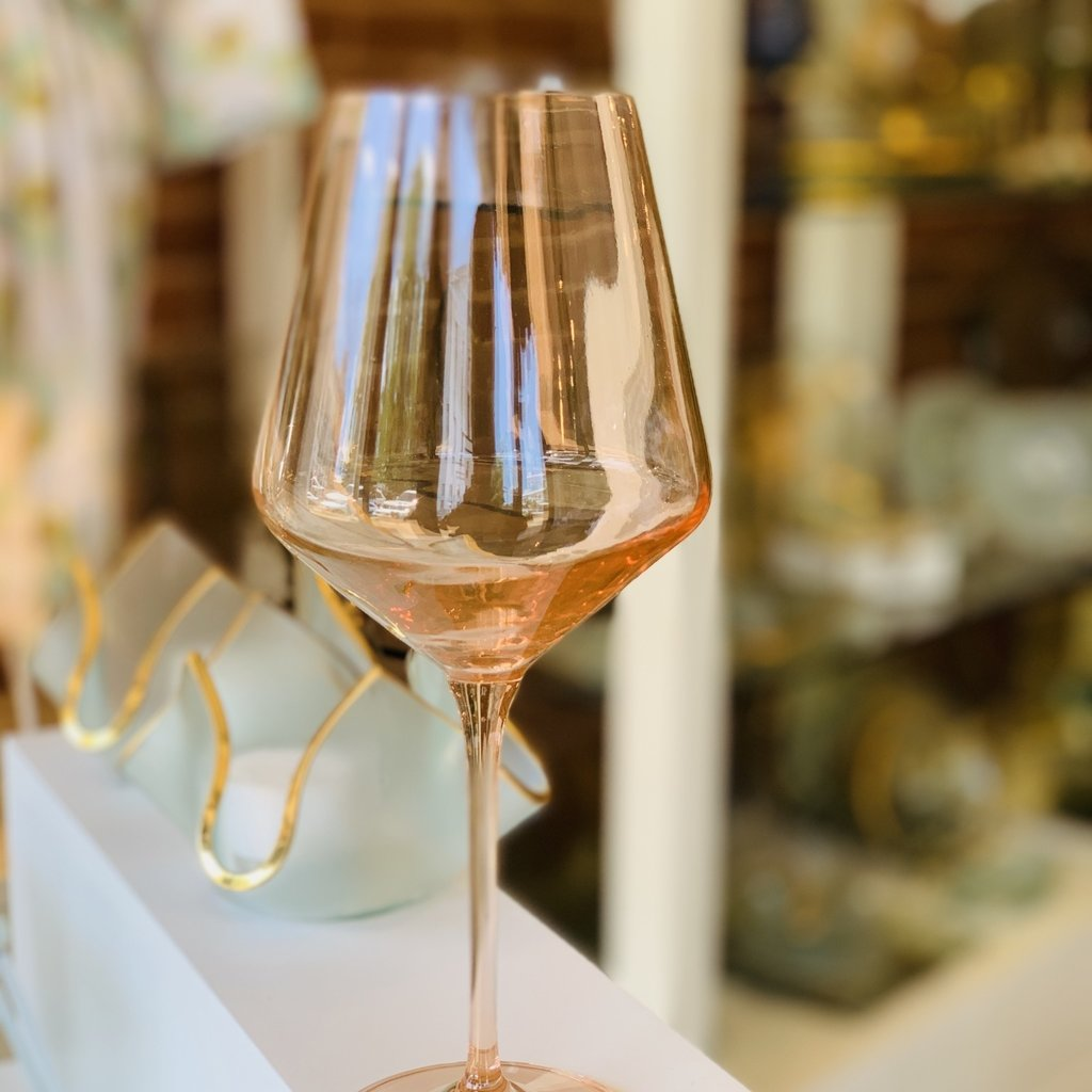Blush Pink Stemmed Wine Glass