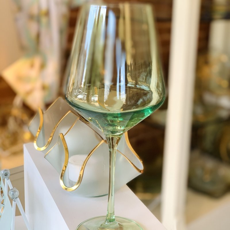 Mint Green Stemmed Wine Glass