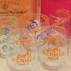 Hermes Hand Painted Wine Glass