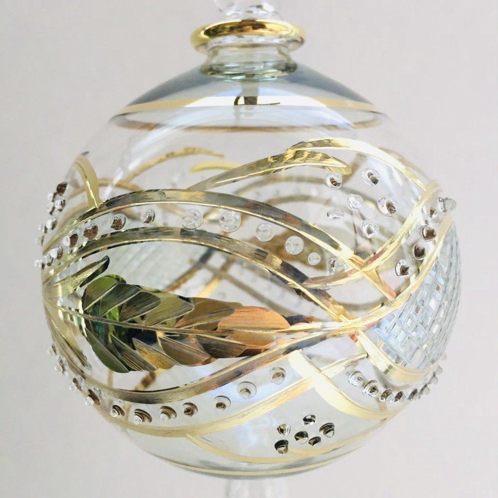 Hand Blown Glass Ornament - Green Garland