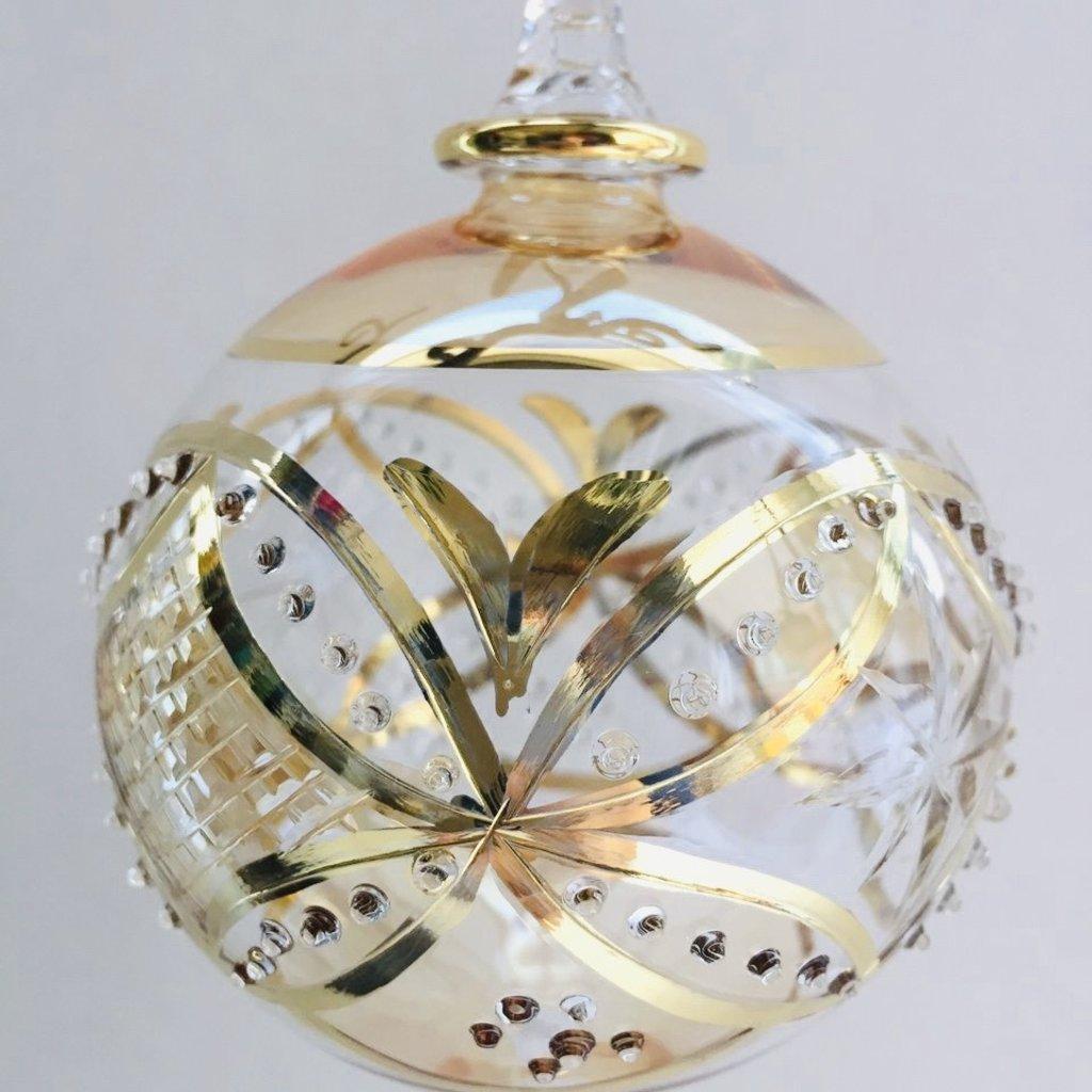 Hand Blown Glass Ornament - Yellow Carousel