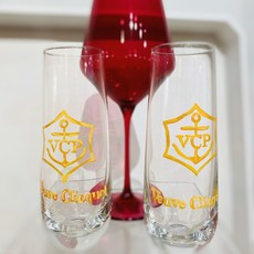 Veuve Hand Painted Champagne Glasses