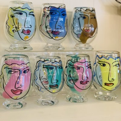Painted Red Wine Glasses