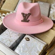 Pink hat with gold beaded and grey LOUIS VUITTON