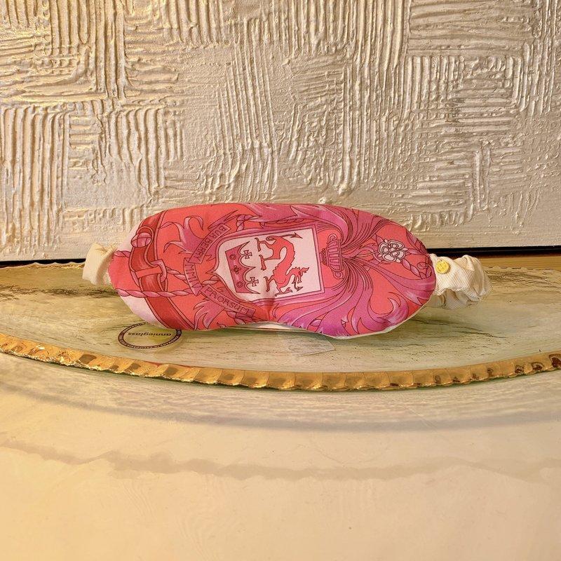 Katherine Beck Vintage Burberry Silk Eye Mask- pink/hot pink