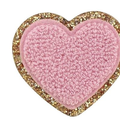 Glitter Heart Adhesive Patch  FLAMINGO