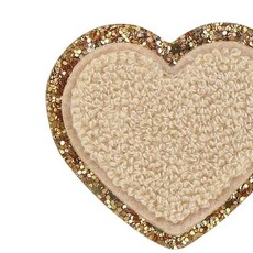 Glitter Heart Adhesive Patch SAND