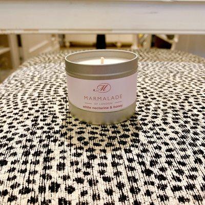 White Nectarine and Honey Small Tin Candle