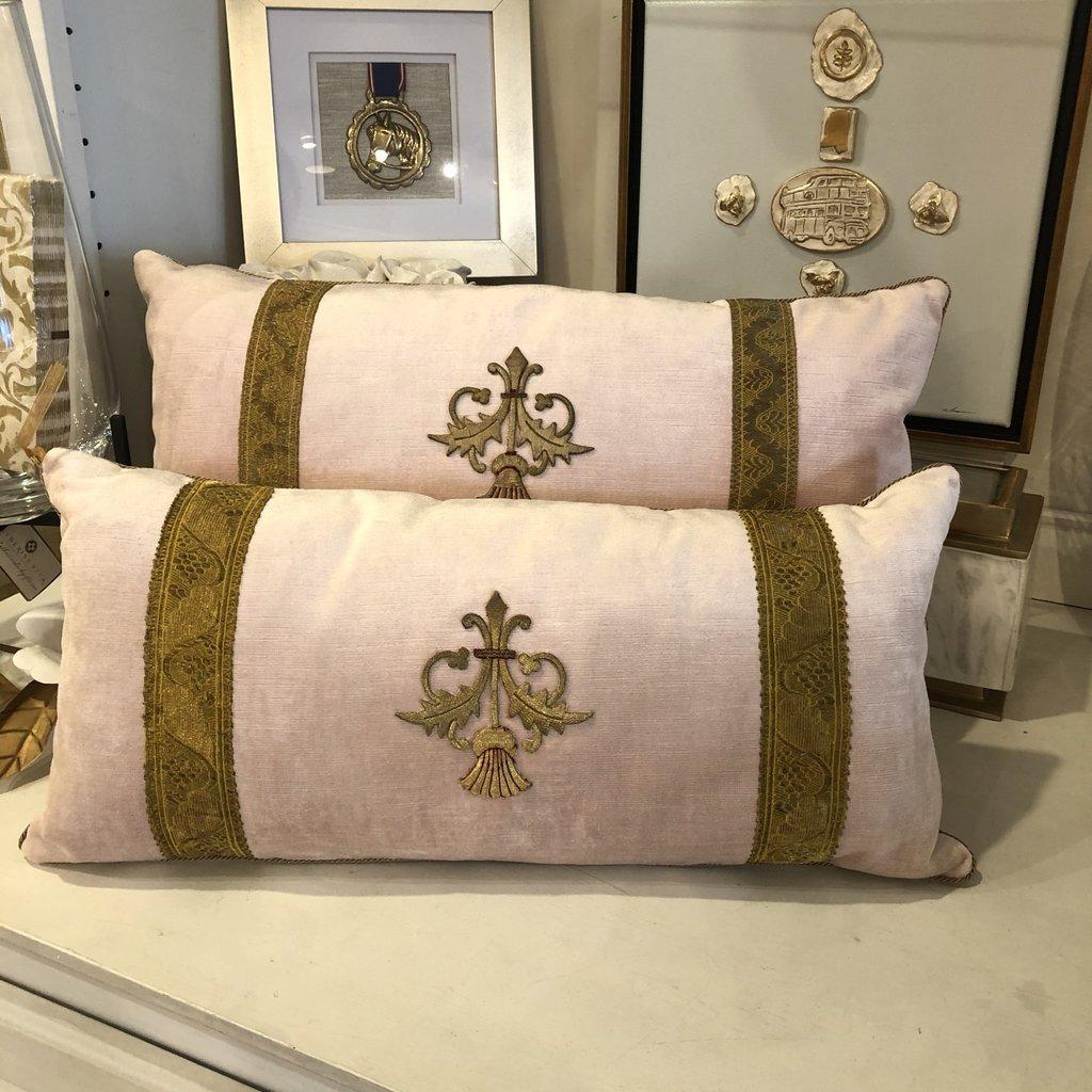 Antique Vestment Pillow- Blush Pink