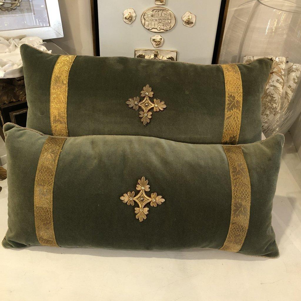 Antique Vestment Pillow- Sage Green