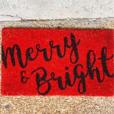 "17"" x 29"" Christmas Merry and Bright Doormat"