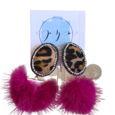 Hot pink Leopard Mink earrings