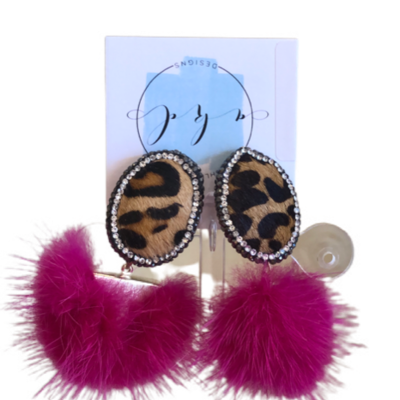 Hot pink Leopard Mink earrings
