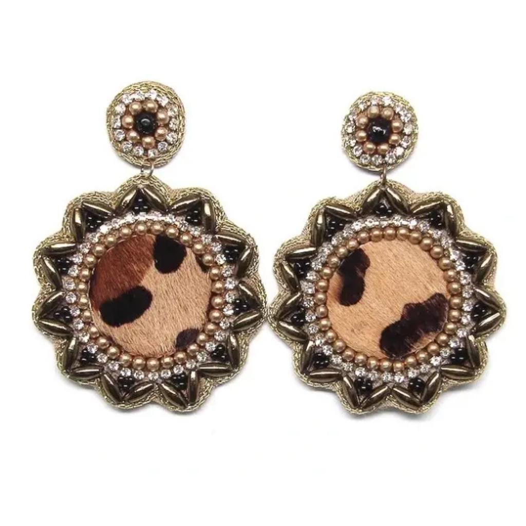 Cheetah drop earrings