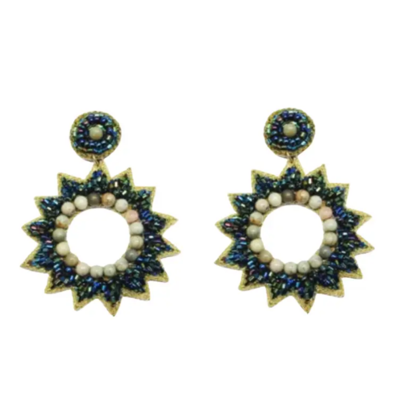 Emerald star burst earrings