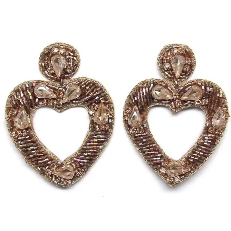 Gold jeweled heart earrings