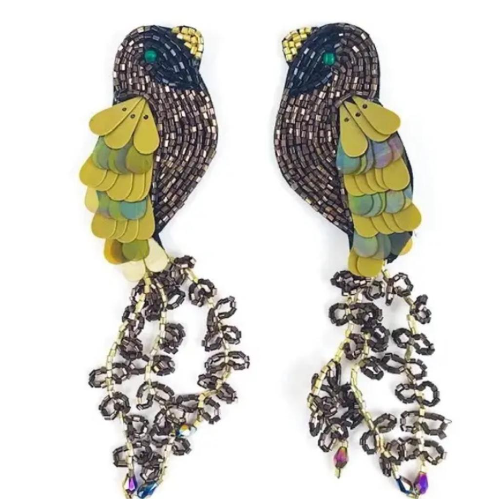 Brown bird earrings