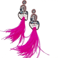 Pink flamingo accent earrings