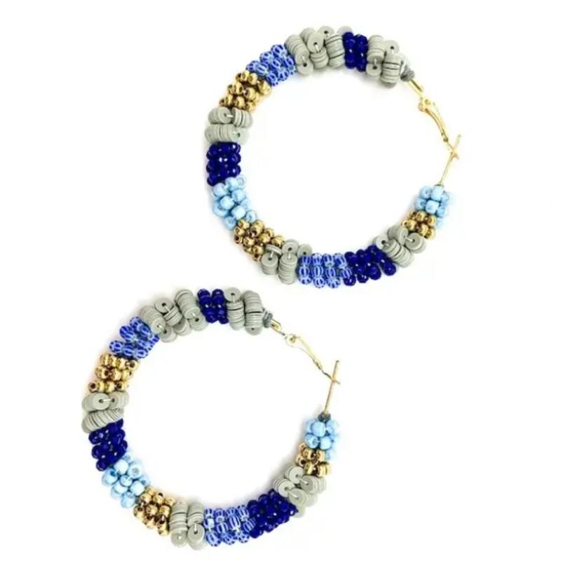 Allie Beads Blue beaded hoop earrings