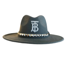 Grey Burberry Hat with Trim