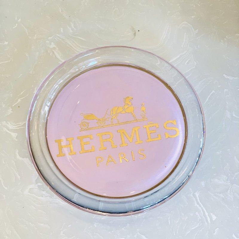 Hermes Blush/Lt Pink Gold Foil Coaster-