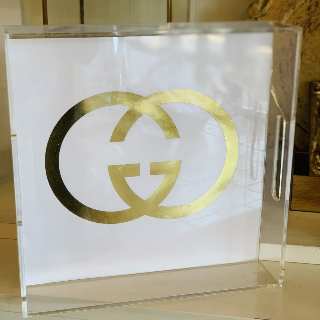 Gucci in Gold foil 8x8 tray
