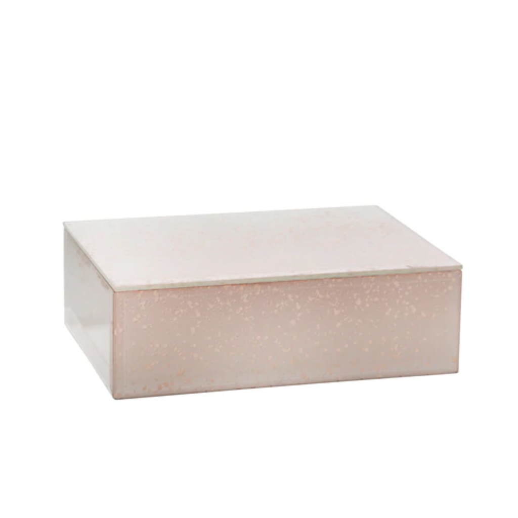 15382-02 Wood/glass 8 marbled box, pink